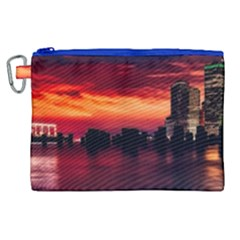 New York City Urban Skyline Harbor Canvas Cosmetic Bag (xl) by BangZart