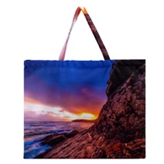 South Africa Sea Ocean Hdr Sky Zipper Large Tote Bag