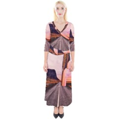 Iceland Sky Clouds Sunset Quarter Sleeve Wrap Maxi Dress