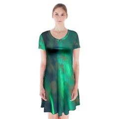 Northern Lights Plasma Sky Short Sleeve V Neck Flare Dress