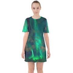 Northern Lights Plasma Sky Sixties Short Sleeve Mini Dress