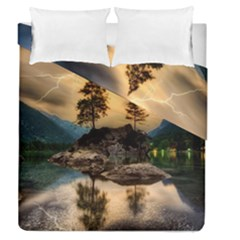 Sunset Dusk Sky Clouds Lightning Duvet Cover Double Side (queen Size)