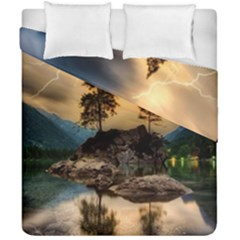 Sunset Dusk Sky Clouds Lightning Duvet Cover Double Side (california King Size) by BangZart