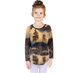 Sunset Dusk Sky Clouds Lightning Kids  Long Sleeve Tee