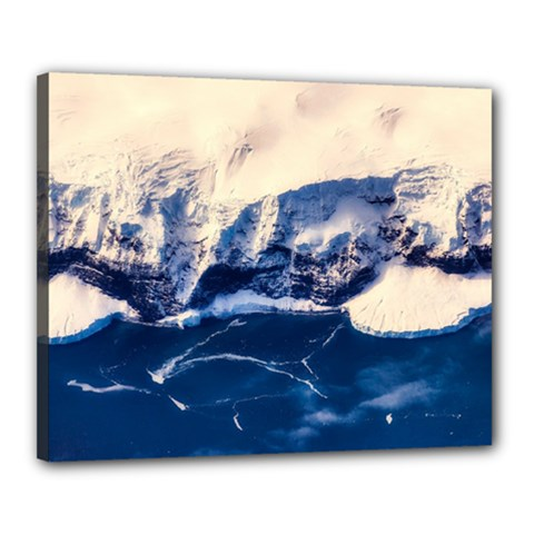 Antarctica Mountains Sunrise Snow Canvas 20  x 16