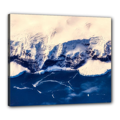 Antarctica Mountains Sunrise Snow Canvas 24  x 20