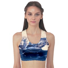 Antarctica Mountains Sunrise Snow Sports Bra