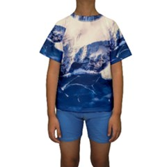 Antarctica Mountains Sunrise Snow Kids  Short Sleeve Swimwear