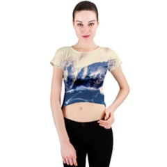 Antarctica Mountains Sunrise Snow Crew Neck Crop Top