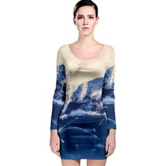 Antarctica Mountains Sunrise Snow Long Sleeve Bodycon Dress by BangZart