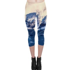 Antarctica Mountains Sunrise Snow Capri Leggings