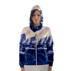 Antarctica Mountains Sunrise Snow Hooded Wind Breaker (Women)
