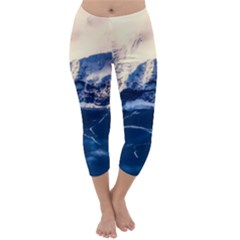 Antarctica Mountains Sunrise Snow Capri Winter Leggings