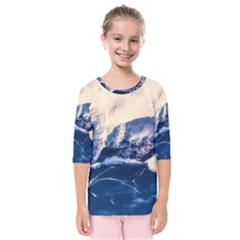 Antarctica Mountains Sunrise Snow Kids  Quarter Sleeve Raglan Tee