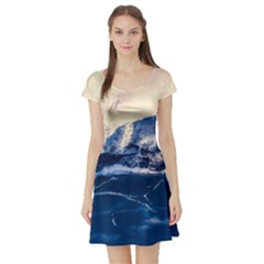 Antarctica Mountains Sunrise Snow Short Sleeve Skater Dress