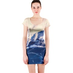 Antarctica Mountains Sunrise Snow Short Sleeve Bodycon Dress
