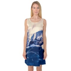 Antarctica Mountains Sunrise Snow Sleeveless Satin Nightdress