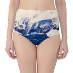 Antarctica Mountains Sunrise Snow High-Waist Bikini Bottoms