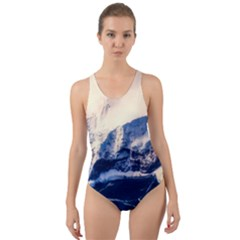Antarctica Mountains Sunrise Snow Cut-Out Back One Piece Swimsuit