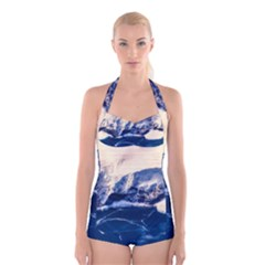 Antarctica Mountains Sunrise Snow Boyleg Halter Swimsuit