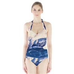 Antarctica Mountains Sunrise Snow Halter Swimsuit
