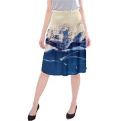 Antarctica Mountains Sunrise Snow Midi Beach Skirt