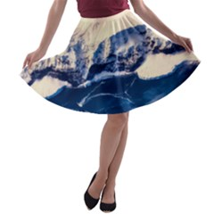 Antarctica Mountains Sunrise Snow A-line Skater Skirt