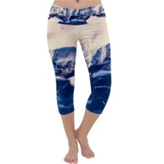 Antarctica Mountains Sunrise Snow Capri Yoga Leggings