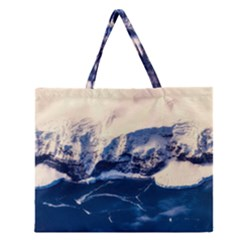 Antarctica Mountains Sunrise Snow Zipper Large Tote Bag