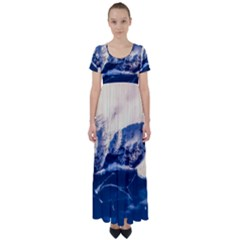 Antarctica Mountains Sunrise Snow High Waist Short Sleeve Maxi Dress