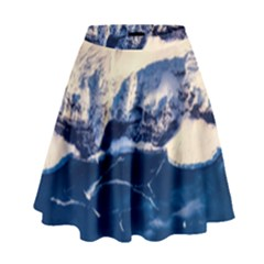 Antarctica Mountains Sunrise Snow High Waist Skirt