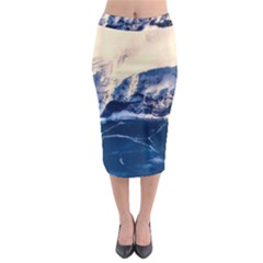 Antarctica Mountains Sunrise Snow Midi Pencil Skirt