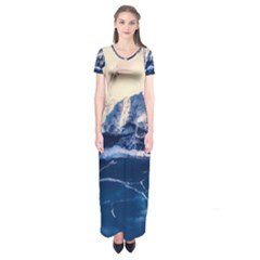 Antarctica Mountains Sunrise Snow Short Sleeve Maxi Dress