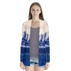 Antarctica Mountains Sunrise Snow Drape Collar Cardigan