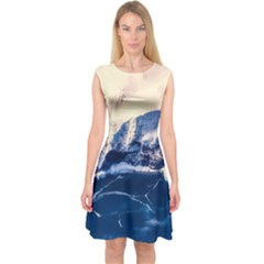 Antarctica Mountains Sunrise Snow Capsleeve Midi Dress