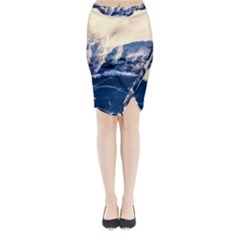 Antarctica Mountains Sunrise Snow Midi Wrap Pencil Skirt