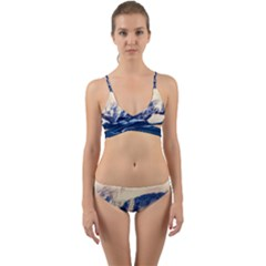 Antarctica Mountains Sunrise Snow Wrap Around Bikini Set