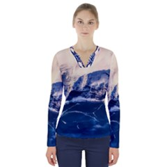 Antarctica Mountains Sunrise Snow V-Neck Long Sleeve Top