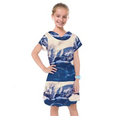 Antarctica Mountains Sunrise Snow Kids  Drop Waist Dress