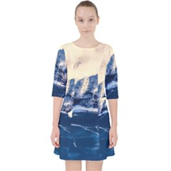 Antarctica Mountains Sunrise Snow Pocket Dress