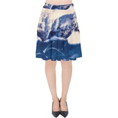 Antarctica Mountains Sunrise Snow Velvet High Waist Skirt