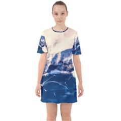 Antarctica Mountains Sunrise Snow Sixties Short Sleeve Mini Dress