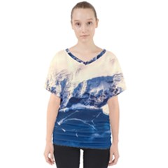Antarctica Mountains Sunrise Snow V Neck Dolman Drape Top by BangZart