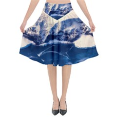 Antarctica Mountains Sunrise Snow Flared Midi Skirt