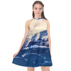 Antarctica Mountains Sunrise Snow Halter Neckline Chiffon Dress