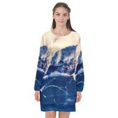 Antarctica Mountains Sunrise Snow Long Sleeve Chiffon Shift Dress
