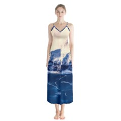 Antarctica Mountains Sunrise Snow Button Up Chiffon Maxi Dress