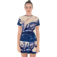 Antarctica Mountains Sunrise Snow Drop Hem Mini Chiffon Dress