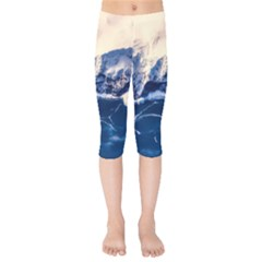 Antarctica Mountains Sunrise Snow Kids  Capri Leggings
