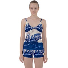 Antarctica Mountains Sunrise Snow Tie Front Two Piece Tankini